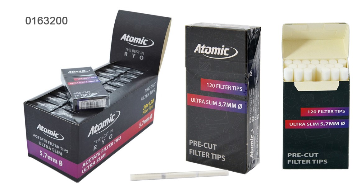 Опт фильтры для сигарет самокруток 5.7 мм ультра слим угольные Atomic