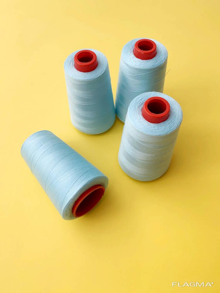 Нитка голубая швейная, нитки для масок, нить швейная