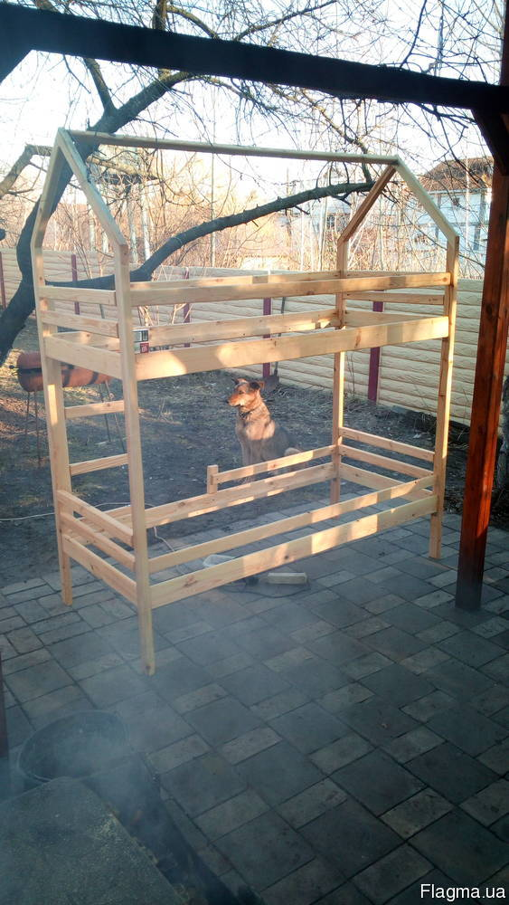 2х-ярусная кровать-домик из натурального дерева1