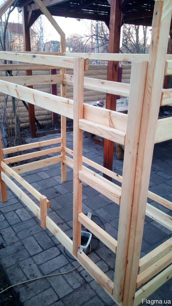 2х-ярусная кровать-домик из натурального дерева2