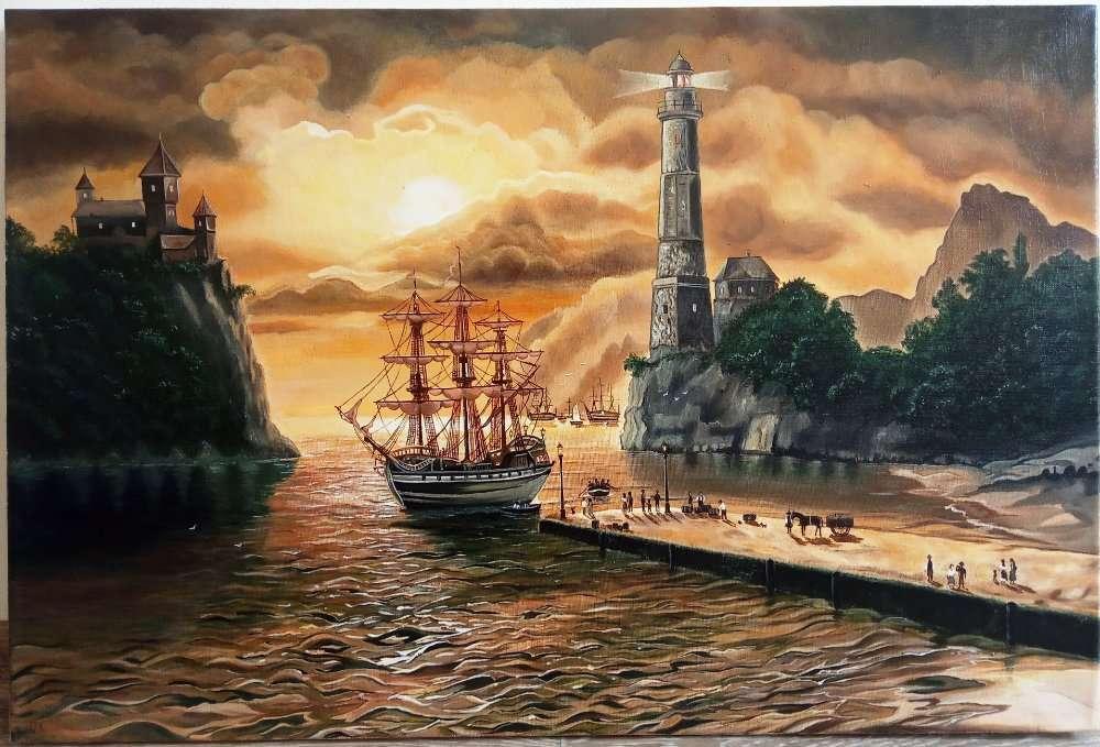 "Картина ""Морской закат"", 50х75см, холст, масло"
