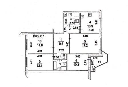 Продается 4-х комнатная квартира с хорошей планировкой. (Распашонка)