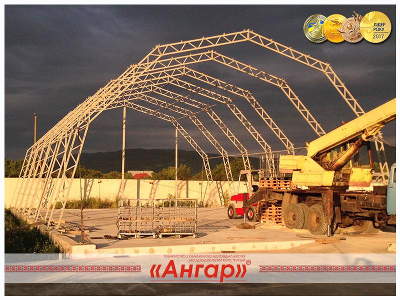 Каркас ангар, цех, склад, ферма, ангар, металлоконструкции. Монтаж.
