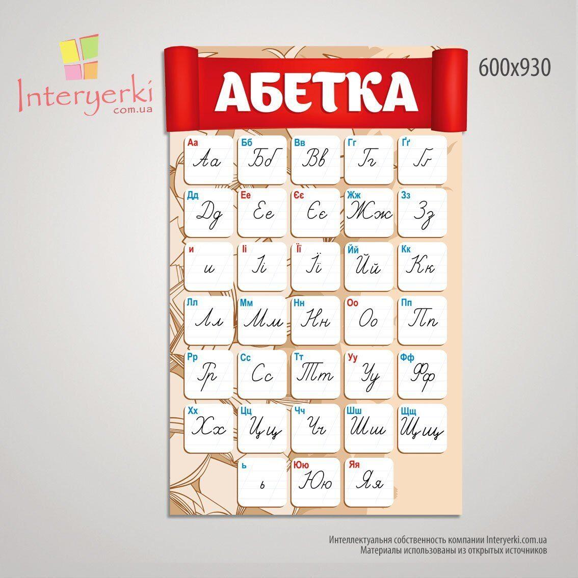 """Стенд """"Украинский алфавит"""" Абетка для новой украинской школы"""