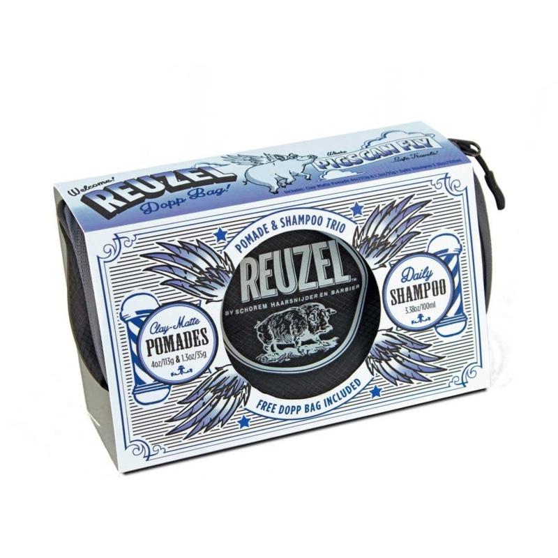 Подарочный Набор Reuzel Pigs Can Fly Dopp Bag Clay Matte Pomade (113g + 35g) + Daily Shampoo 100 ml