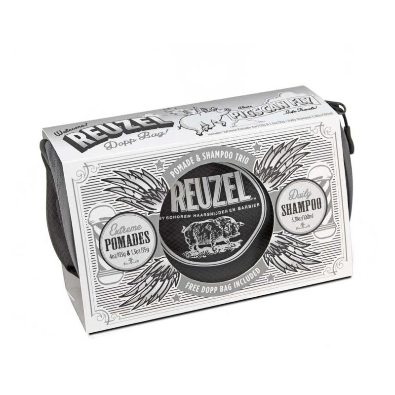 Подарочный Набор Reuzel Pigs Can Fly Dopp Bag Extreme Pomade (113g + 35g) + Daily Shampoo 100 ml