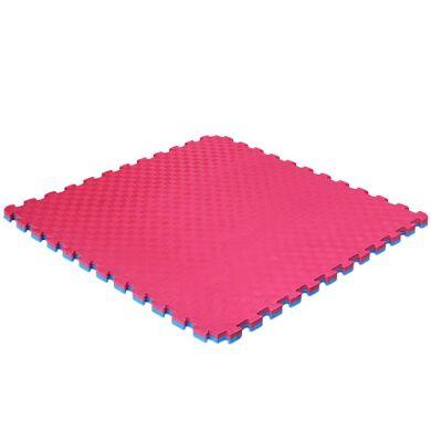 Мат татами двухслойный (ласточкин хвост, 1000х1000х20мм), розовый/голубой