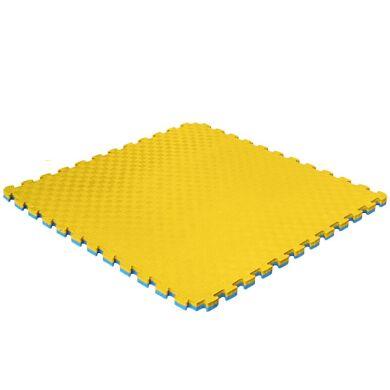 Мат татами двухслойный (ласточкин хвост, 1000х1000х20мм), желтый/голубой