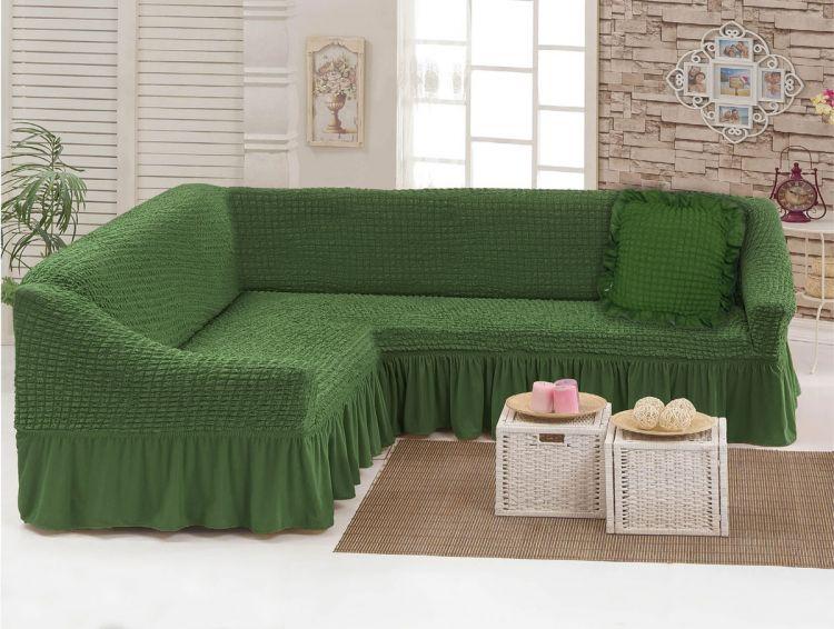 Чехол для мебели (диван угловой с подушкой) оливковый (24)