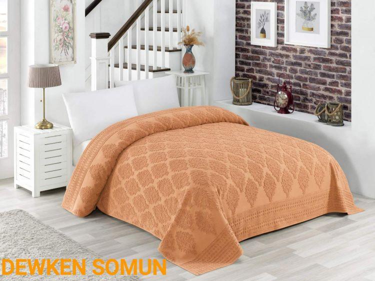 Махровая жаккардовая персиковая простынь Dewken somun