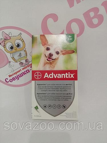 Краплі Bayer Advantix Байєр Адвантікс для собак від бліх та кліщів до 4кг