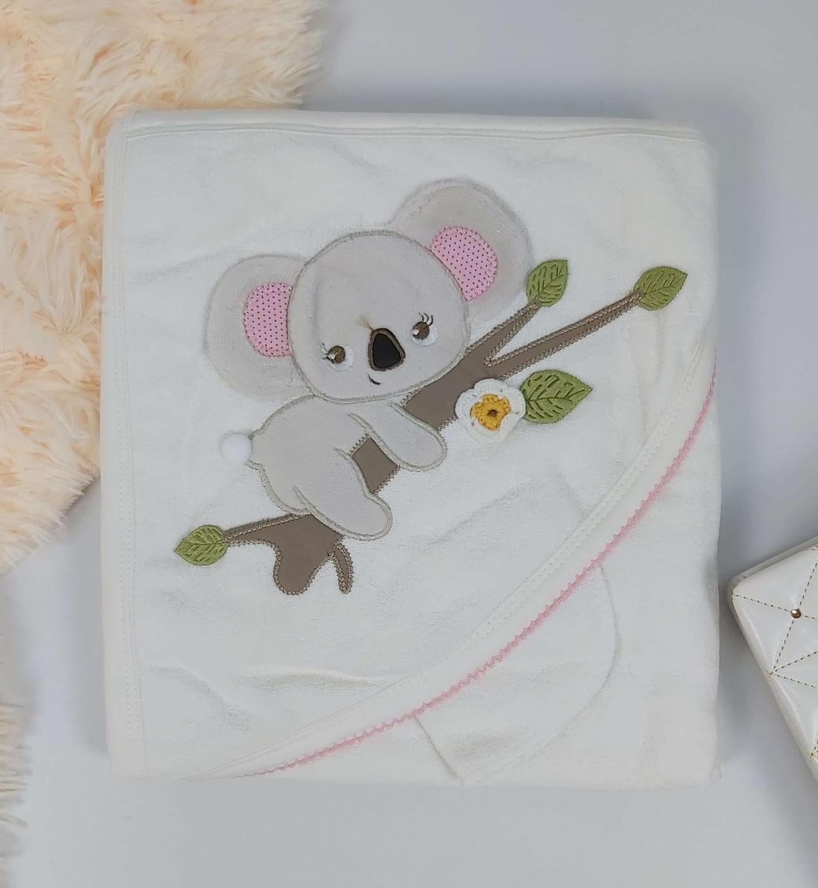 Детское полотенце-уголок с рукавичкой Коала