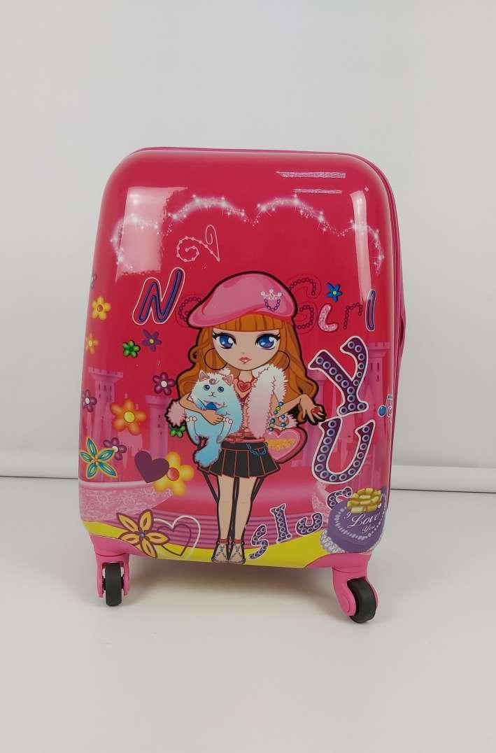 Яркий пластиковый чемодан для девочек