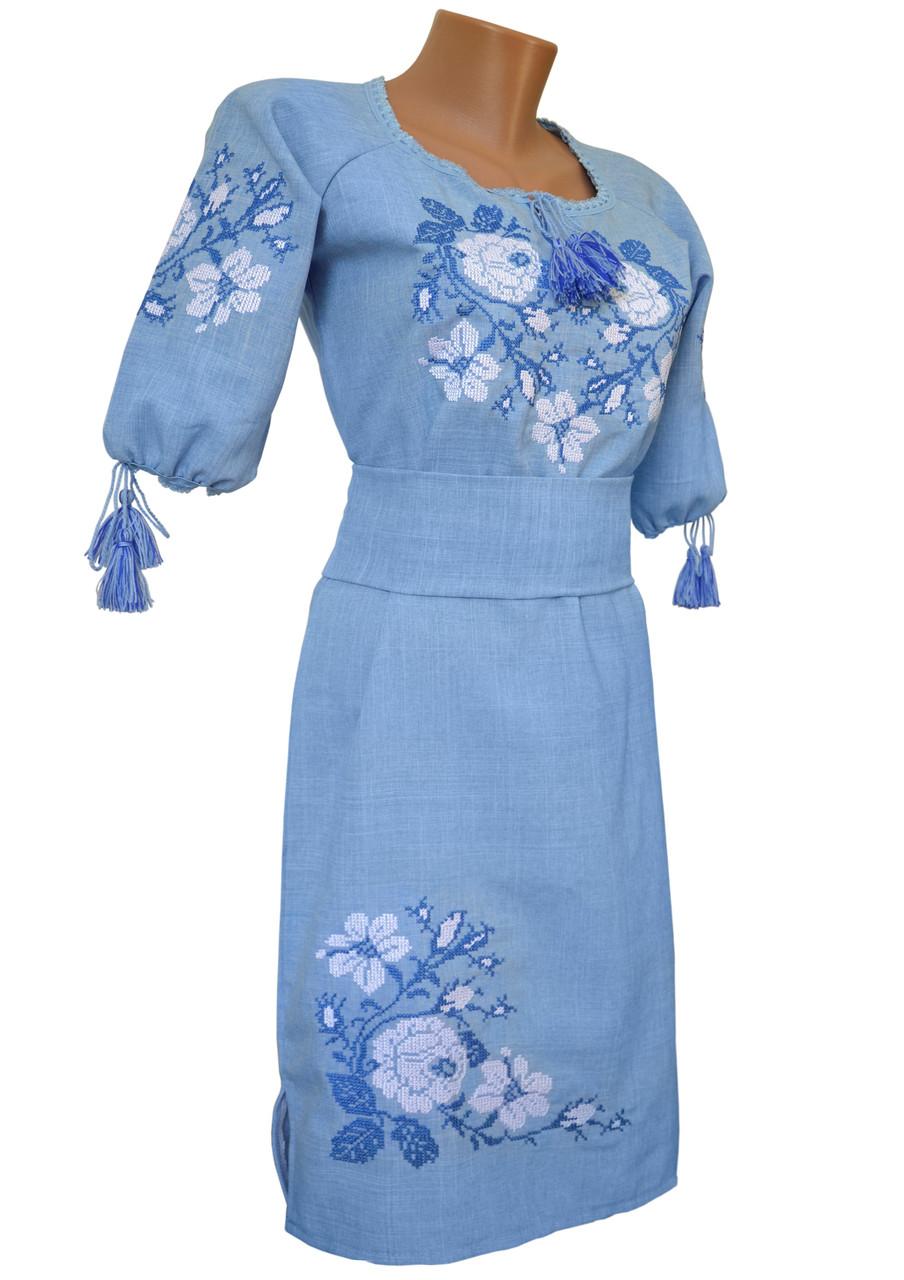 Красива жіноча вишита сукня довжиною до колін із рукавом 3/4 «Троянди» Блакитний