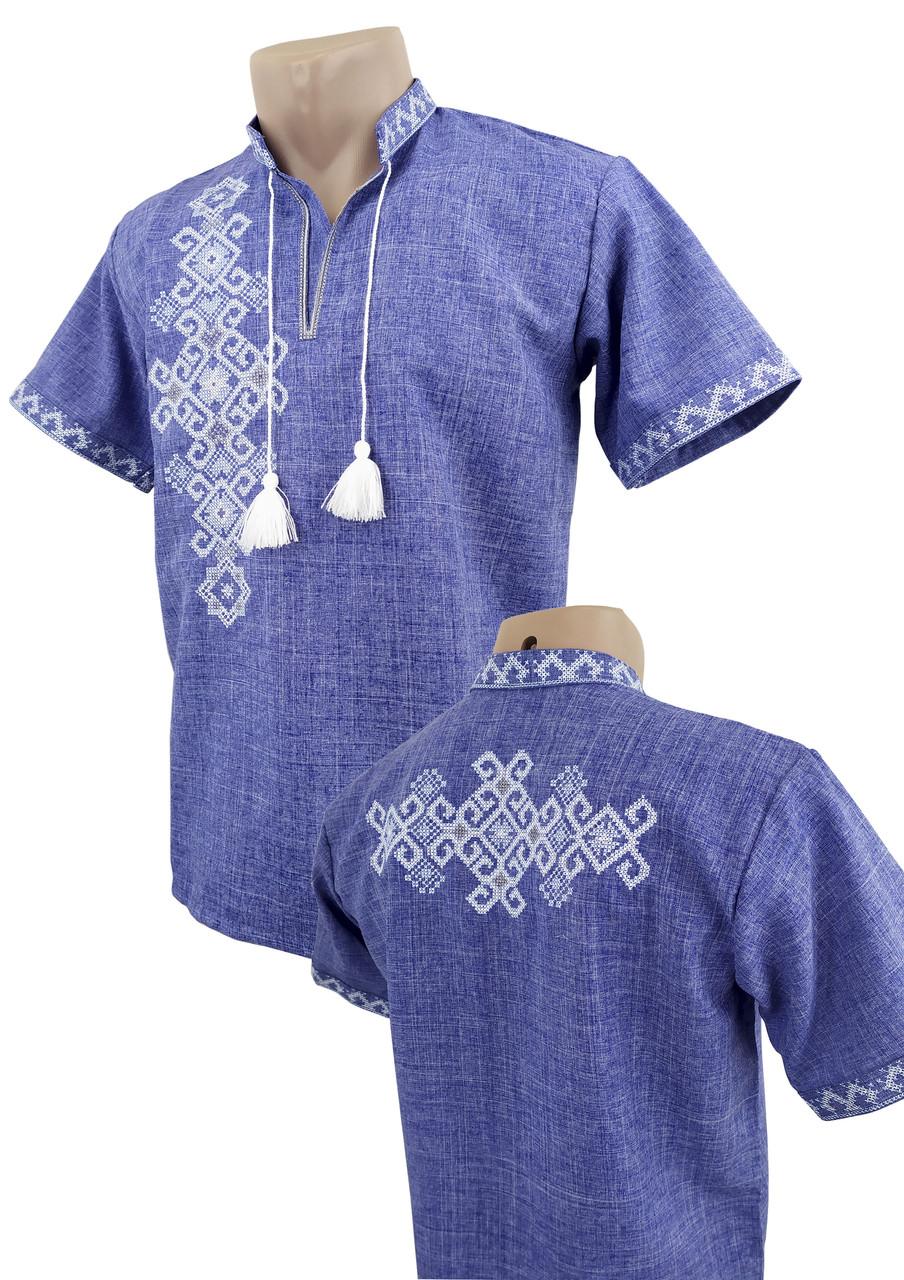 Чоловіча сорочка на короткий рукав із коміром стійкою в вишивкою на спині