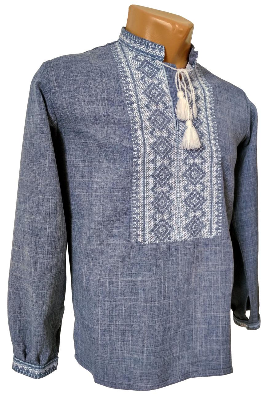 Класична чоловіча сорочка на довгий рукав із коміром стійкою