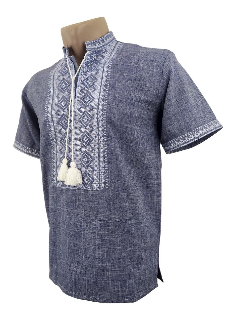 Чоловіча сорочка джинс на короткий рукав із коміром стійкою