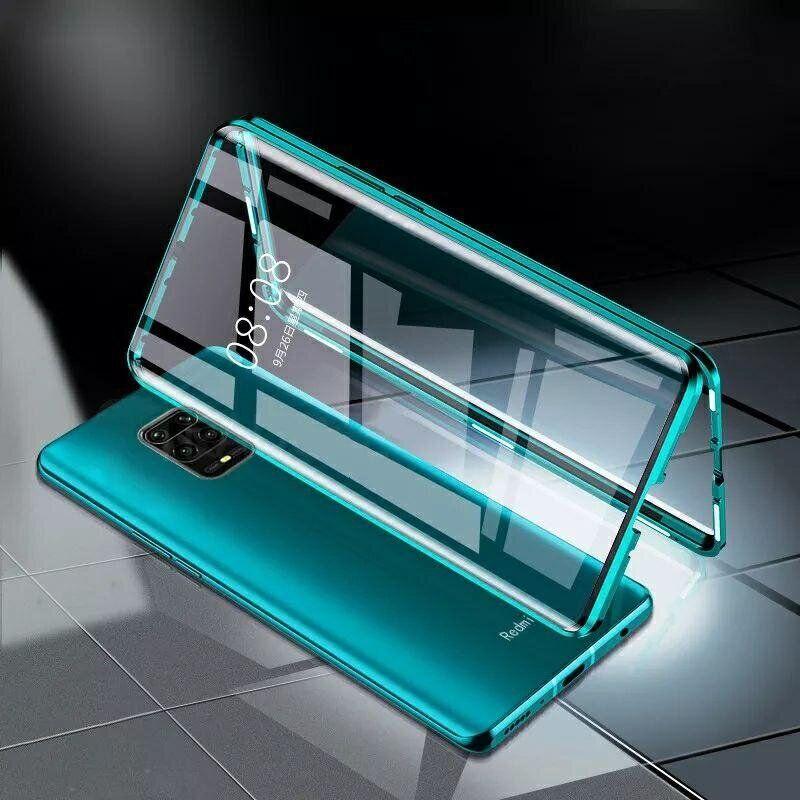 Магнитный чехол с защитным стеклом для Xiaomi Redmi Note 9s / Note 9 Pro цвет Зелёный