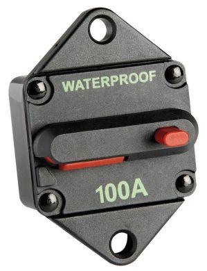 Выключатель автоматический тепловой. Макс. ток - 100 А. Макс. напряжение - 42 В. Водонепроницаемый.