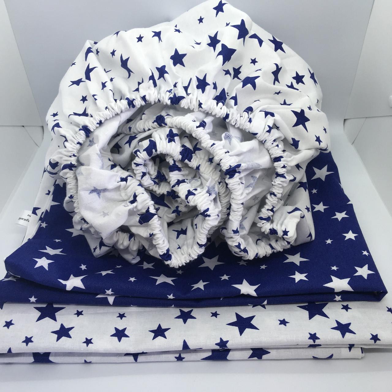 """Комплект змінної постелі в дитяче ліжечко 60х120 см. """"Сині зірочки"""""""