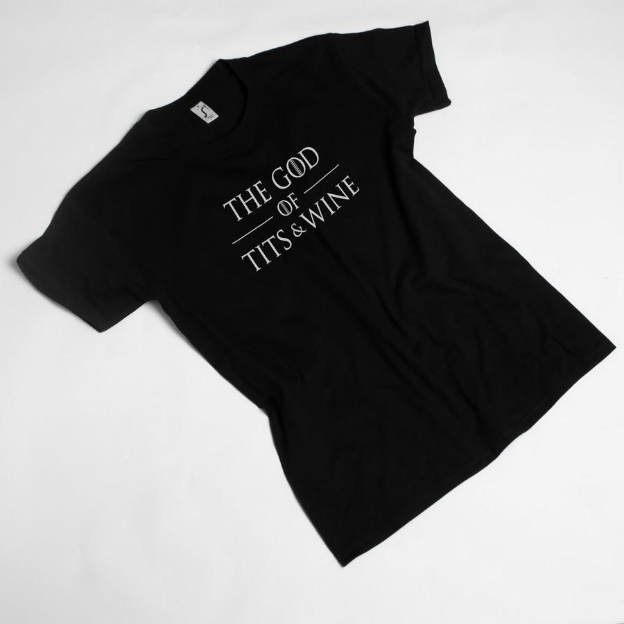 """Футболка с надписью из Игры Престолов GoT """"God of tits and wine"""" мужская черная"""
