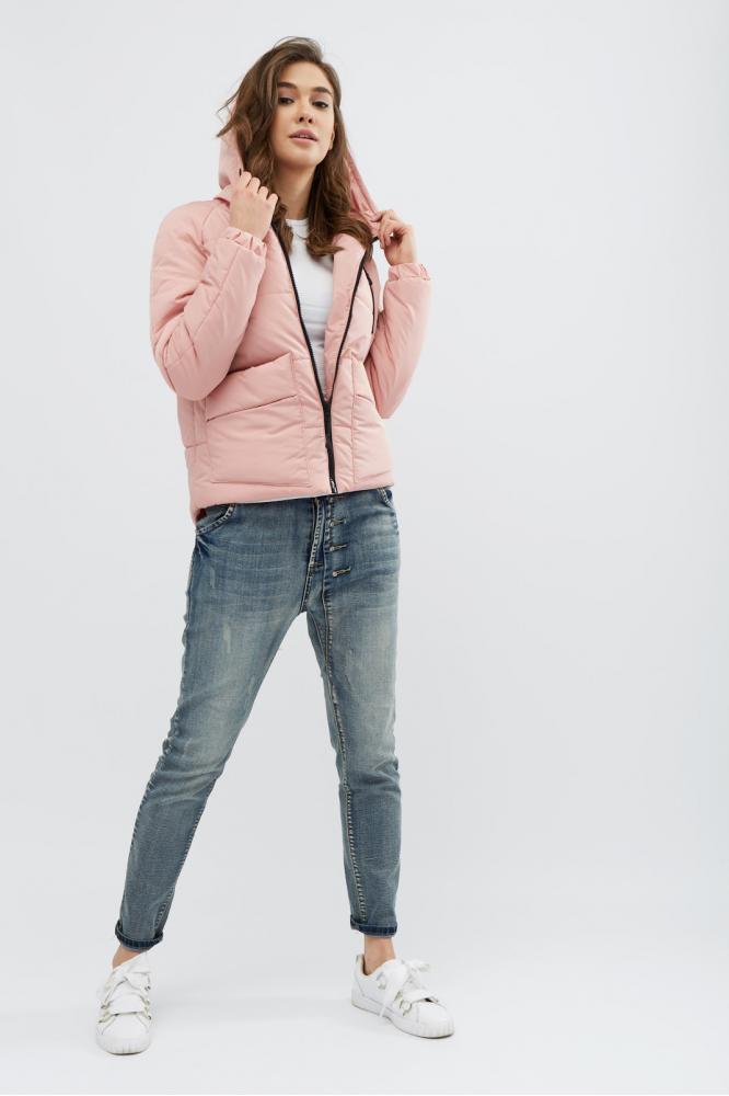 """Демисезонная женская куртка """"I-43"""" (цвет: розовый/хаки/темно-синий/бордо/черный; размер: 42/44/46/48/50/52)"""