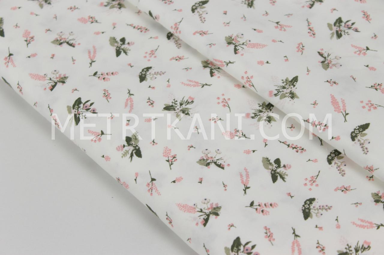 """Сатин """"Мелки цветы анемоны """" компаньон на белом фоне 160-06 с"""