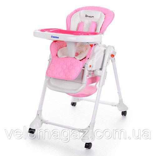 Детский стульчик-качалка для кормления с функцией укачивания M3551-8 DREAM, розовый