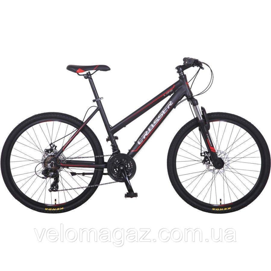 """Велосипед Crosser Life-1 New 26"""" серый алюминиевый горный"""