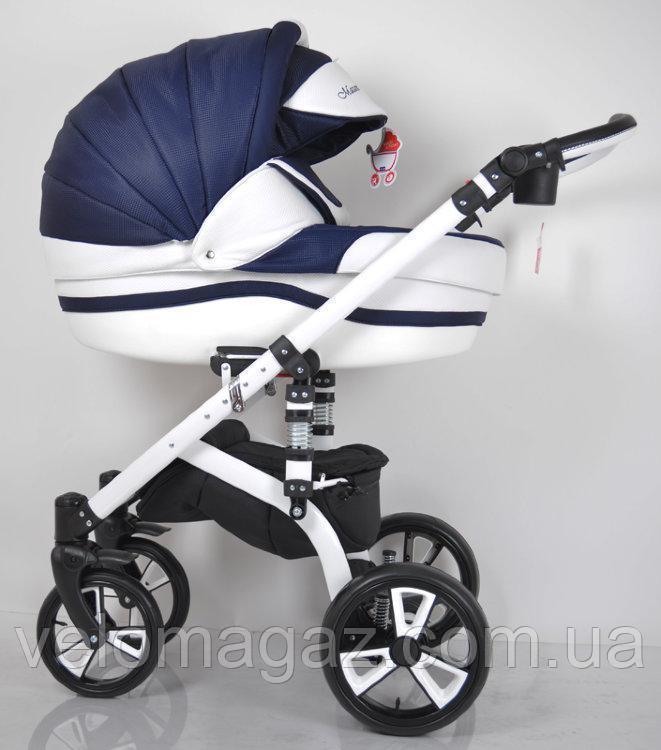 """Всесезонная детская коляска 2 в 1 """"MACAN"""" White-Blue"""
