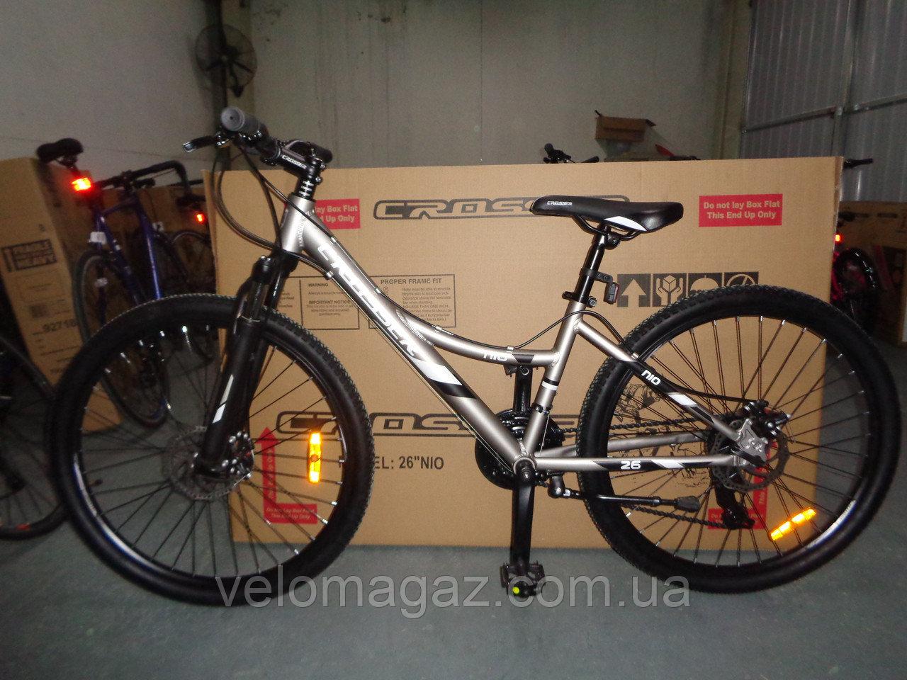 """Велосипед горный алюминиевый Crosser Nio Stels 24"""" рама 13"""", черно-красный"""
