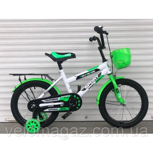 """Велосипед TopRider 804 14"""" салатовый детский двухколесный с багажником"""
