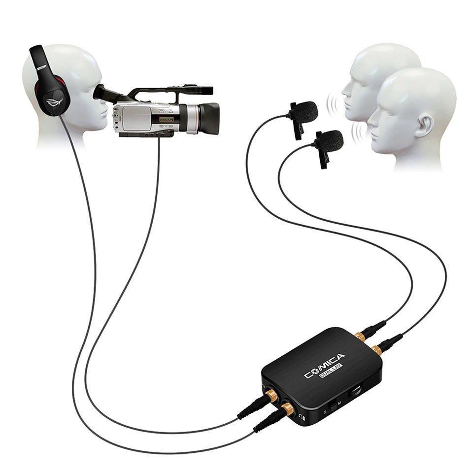 Петличная система, двойная петличка, двойной петличный микрофон Comica CVM-D03 для камеры/смартфона/GoPro