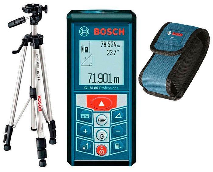 Лазерный дальномер Bosch GLM 80 + штатив Bosch BT 150 + чехол (06159940A1)
