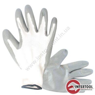 """Перчатка вязаная покрытая нитрилом на ладони 10"""" (серая)"""