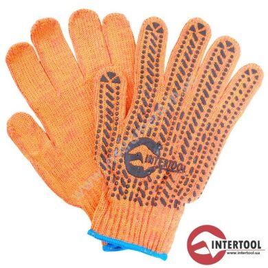 Перчатка трикотажная 60% хлопок / 40% полиэстер, с ПВХ точкой, класс вязки 7, цвет оранжевый, с платировкой, синяя точка, 90 г