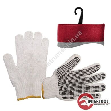 Перчатка х/б трикотаж с точечным покрытием PVC на ладони (белая) InterTool SP-0005 Перчатка х/б трикотаж с точечным покрытием PVC на ладони (белая)
