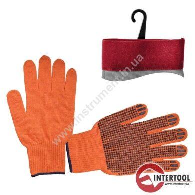 Перчатка трикотажная 70% хлопок / 30% полиэстер, с ПВХ точкой, класс вязки 10, цвет оранжевый, синяя точка, 50 г
