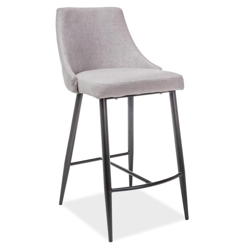 Барные стулья серого цвета из ткани Signal Nobel H-1 с черным Польша