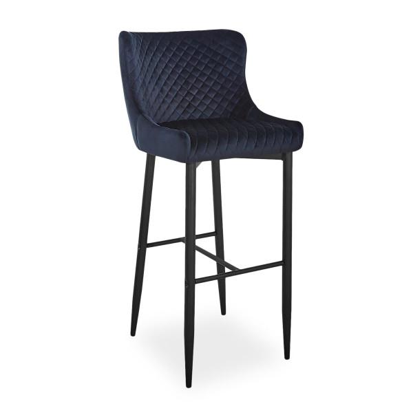 Высокие барные стулья модерн Signal Colin B Velvet H-1 с бархатной обивкой черного цвета для гостинной Польша