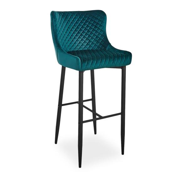 Зеленый барный стул для кухни Signal Colin B Velvet H-1 с вельветовой обивкой в стиле модерн Польша