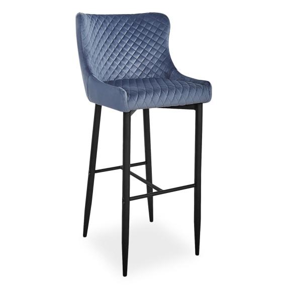 Барный стул на четырех ножках Signal Colin B Velvet H-1 с бархатной обивкой серого цвета в стиле модерн Польша