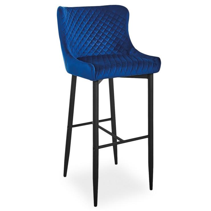 Барные стулья с велюровой обивкой Signal Colin B Velvet H-1 в синем цвете со спинкой в стиле модерн Польша