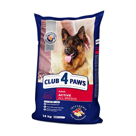 """Сухой корм для собак Клуб 4 Лапи PREMIUM """" Актив"""" 14 кг."""