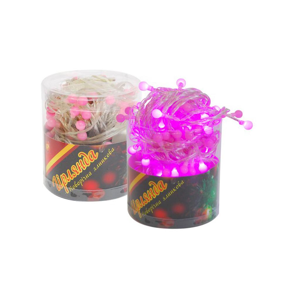 Гірлянда електрична ПіонеR 10 м 100 лампочок LED рожева в тубусі зовнішня 90953-PN