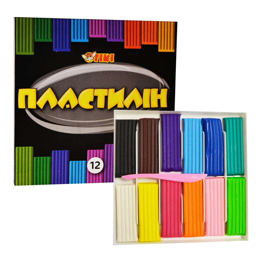 Пластилін для дітей Тікі, набір 12 кольорів, 240 г