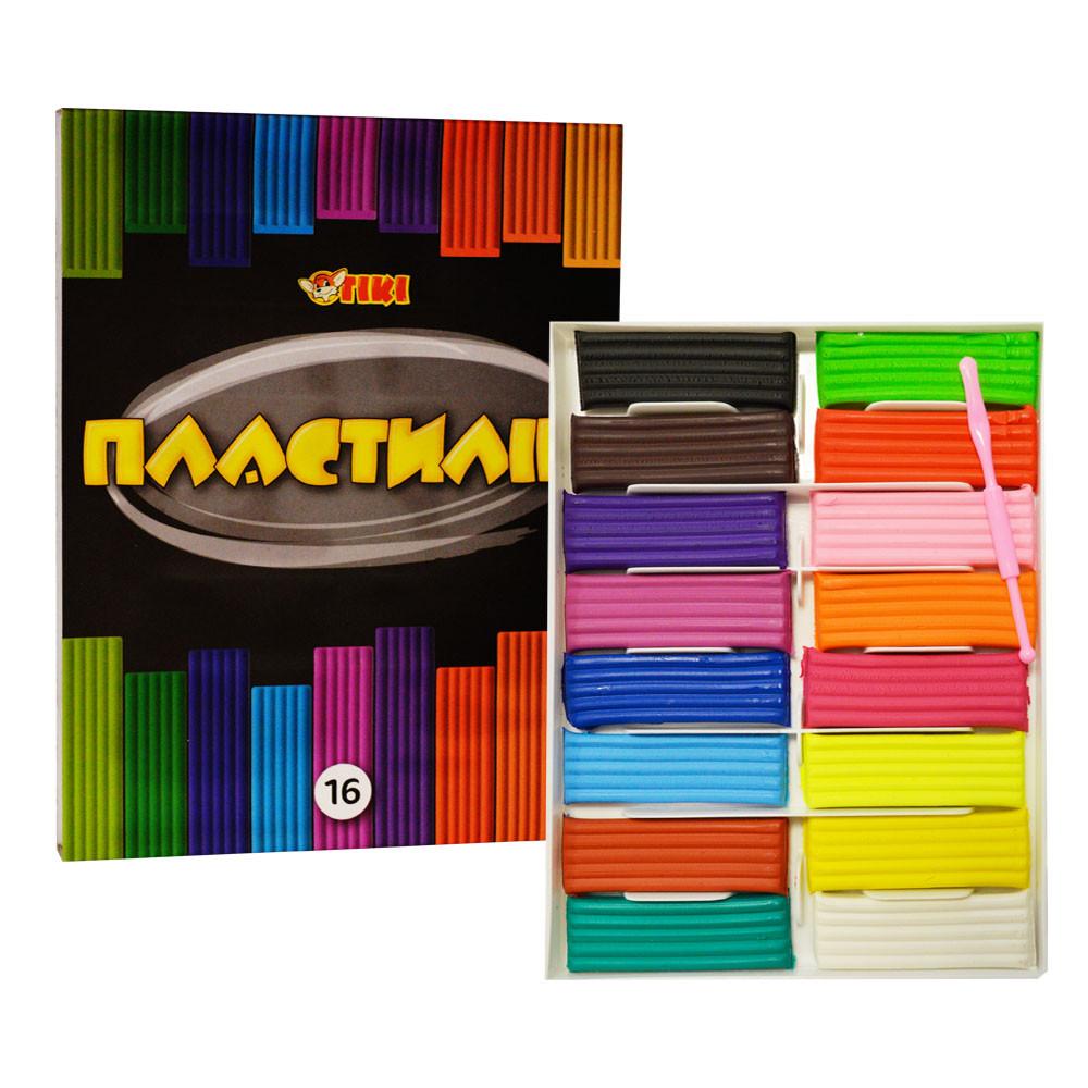 Пластилін для дітей Тікі, набір 16 кольорів, 320 г