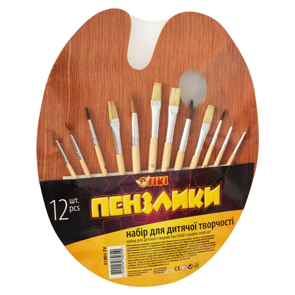 Набір пензликів для малювання Тікі, білка, 12 шт