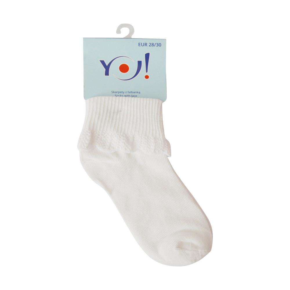 Шкарпетки дитячі з рюшами розмір 14-16 Yo! бавовняні