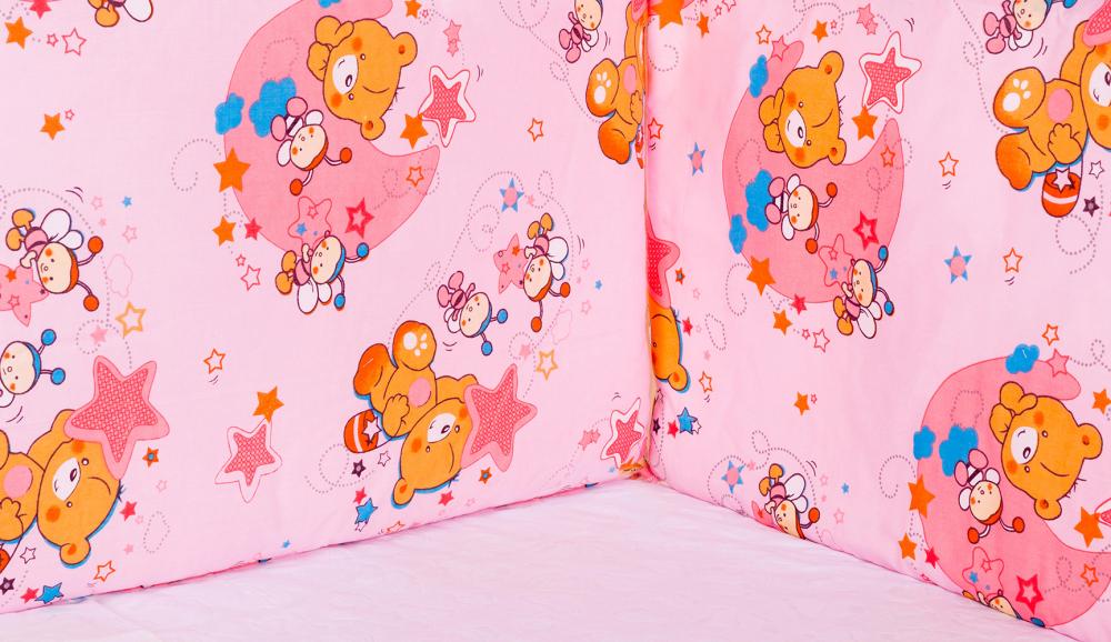 Защита в кроватку Qvatro Gold ZG-02 розовая (мишка, две пчелки, звезды)